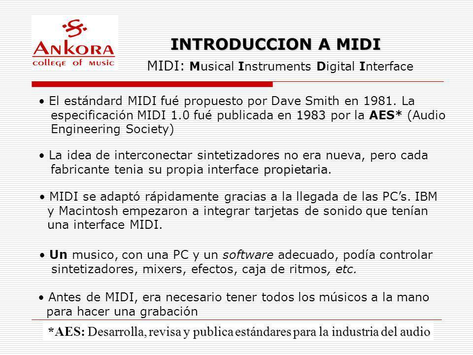 INTRODUCCION A MIDI MIDI: Musical Instruments Digital Interface El estándard MIDI fué propuesto por Dave Smith en 1981. La 1983 especificación MIDI 1.