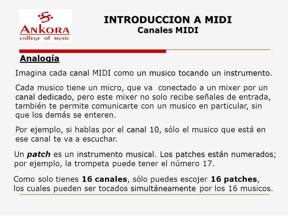 INTRODUCCION A MIDI Canales MIDI Analogía canalun musico tocando un instrumento Imagina cada canal MIDI como un musico tocando un instrumento. Cada mu