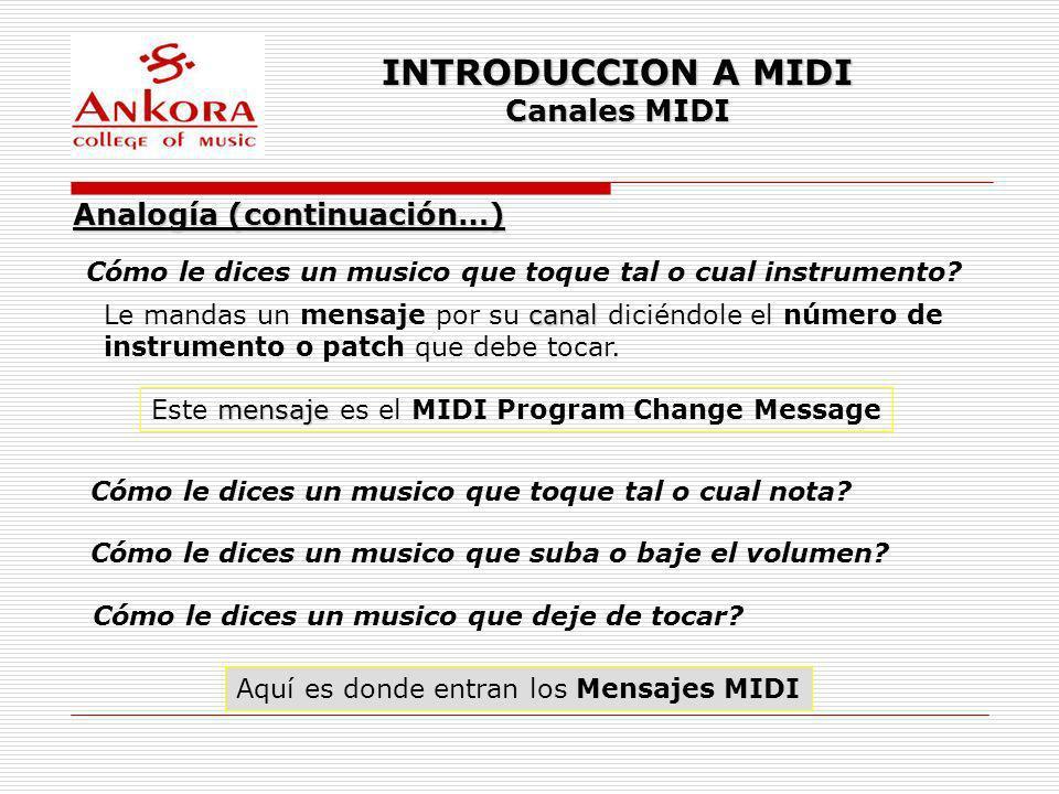 INTRODUCCION A MIDI Canales MIDI Cómo le dices un musico que toque tal o cual instrumento? Analogía (continuación…) canal Le mandas un mensaje por su