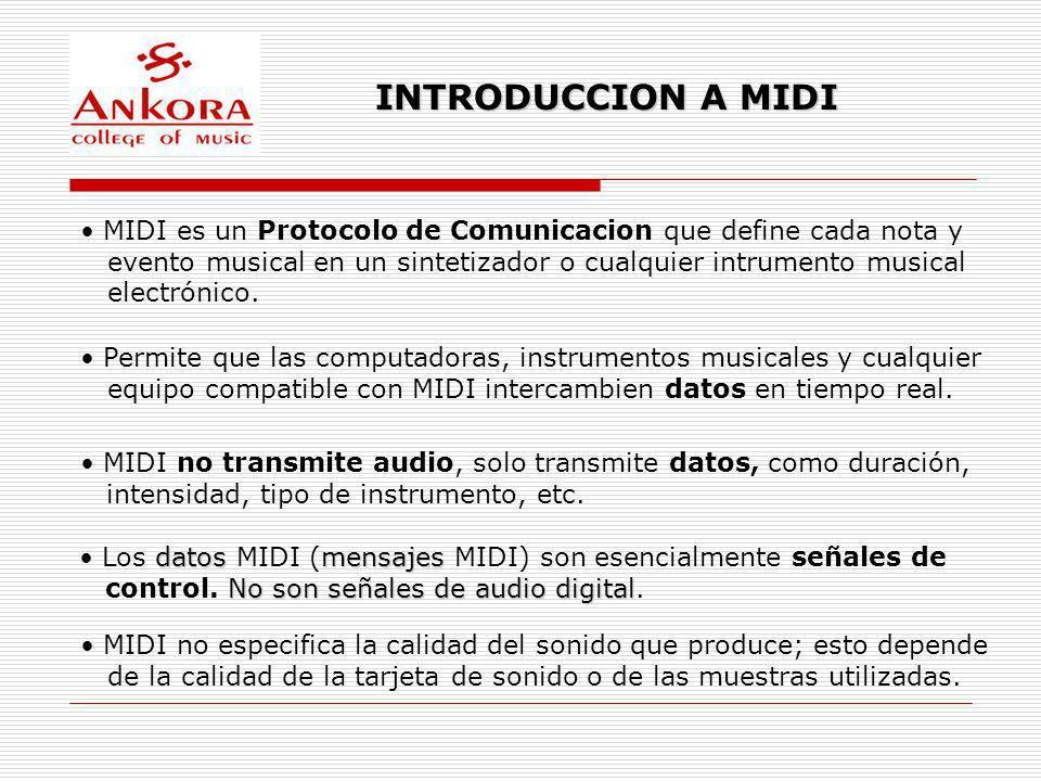 INTRODUCCION A MIDI MIDI no transmite audio, solo transmite datos, como duración, intensidad, tipo de instrumento, etc. MIDI no especifica la calidad