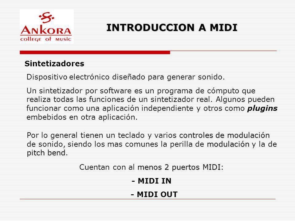 INTRODUCCION A MIDI Sintetizadores Dispositivo electrónico diseñado para generar sonido. Un sintetizador por software es un programa de cómputo que re