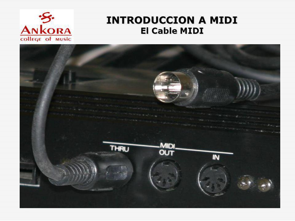 INTRODUCCION A MIDI Puertos MIDI Existen 3 puertos para interconectar sistemas con la interface MIDI: MIDI IN El puerto IN (entrada) acepta datos MIDI que entran al dispositivo desde una fuente exterior.