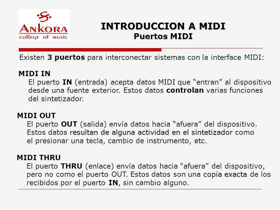 INTRODUCCION A MIDI Puertos MIDI Existen 3 puertos para interconectar sistemas con la interface MIDI: MIDI IN El puerto IN (entrada) acepta datos MIDI
