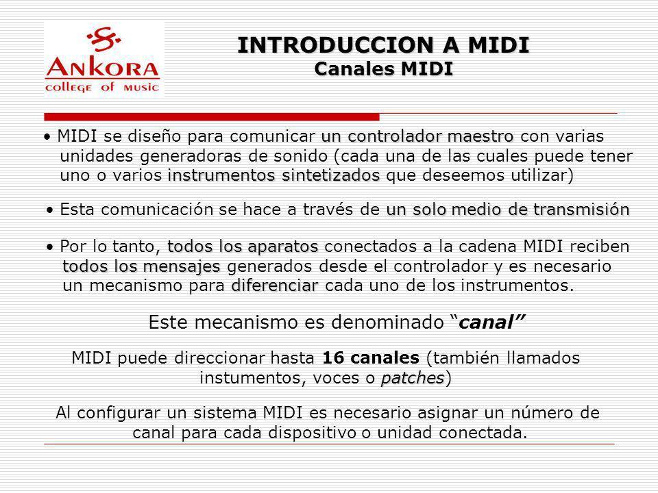 INTRODUCCION A MIDI Canales MIDI Analogía canalun musico tocando un instrumento Imagina cada canal MIDI como un musico tocando un instrumento.