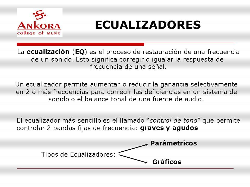 ECUALIZADORES La ecualización (EQ) es el proceso de restauración de una frecuencia de un sonido. Esto significa corregir o igualar la respuesta de fre