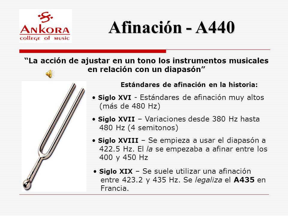 Afinación - A440 La acción de ajustar en un tono los instrumentos musicales en relación con un diapasón Estándares de afinación en la historia: Siglo