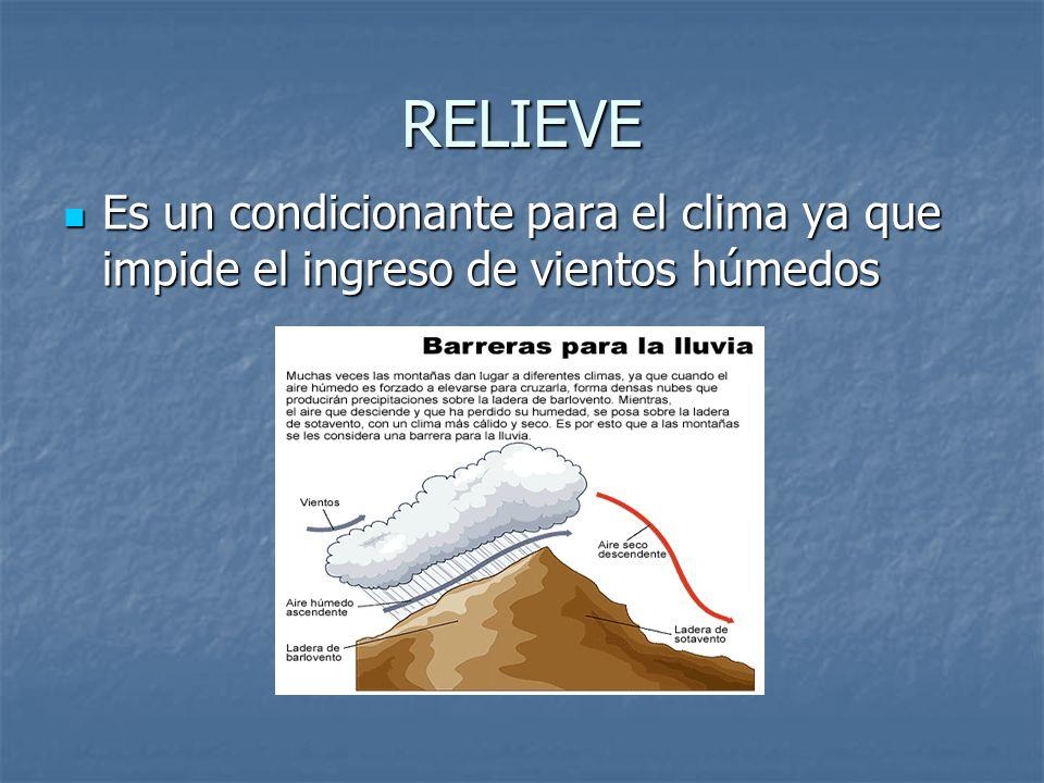 RELIEVE Es un condicionante para el clima ya que impide el ingreso de vientos húmedos Es un condicionante para el clima ya que impide el ingreso de vi
