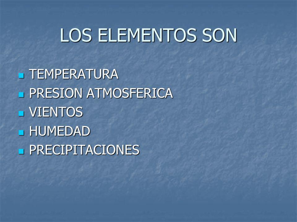 LOS ELEMENTOS SON TEMPERATURA TEMPERATURA PRESION ATMOSFERICA PRESION ATMOSFERICA VIENTOS VIENTOS HUMEDAD HUMEDAD PRECIPITACIONES PRECIPITACIONES