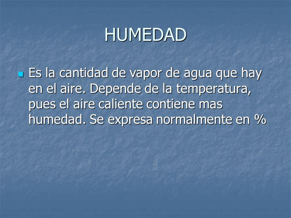HUMEDAD Es la cantidad de vapor de agua que hay en el aire. Depende de la temperatura, pues el aire caliente contiene mas humedad. Se expresa normalme