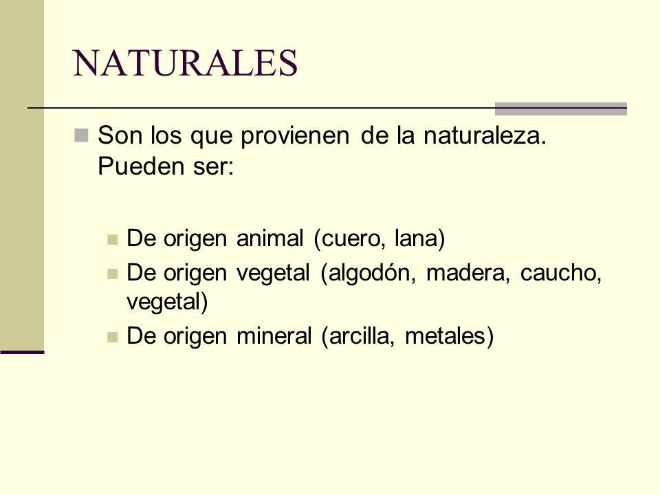 NATURALES Son los que provienen de la naturaleza. Pueden ser: De origen animal (cuero, lana) De origen vegetal (algodón, madera, caucho, vegetal) De o