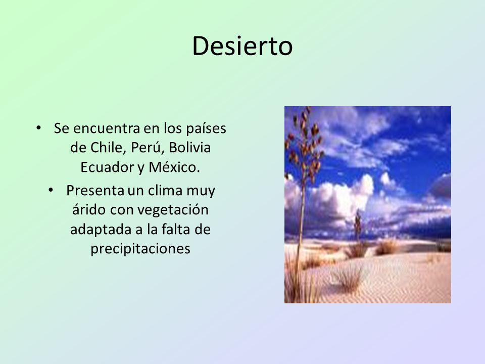 Desierto Se encuentra en los países de Chile, Perú, Bolivia Ecuador y México. Presenta un clima muy árido con vegetación adaptada a la falta de precip