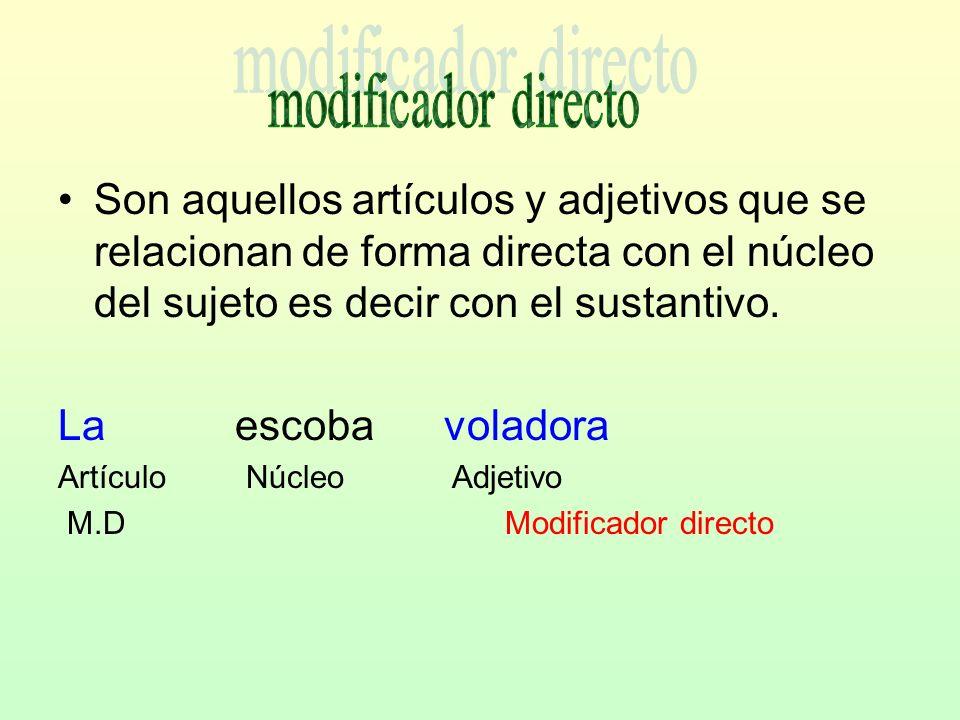 –Son adjetivos o sustantivos que se unen indirectamente con el núcleo del sujeto por medio de una preposición.