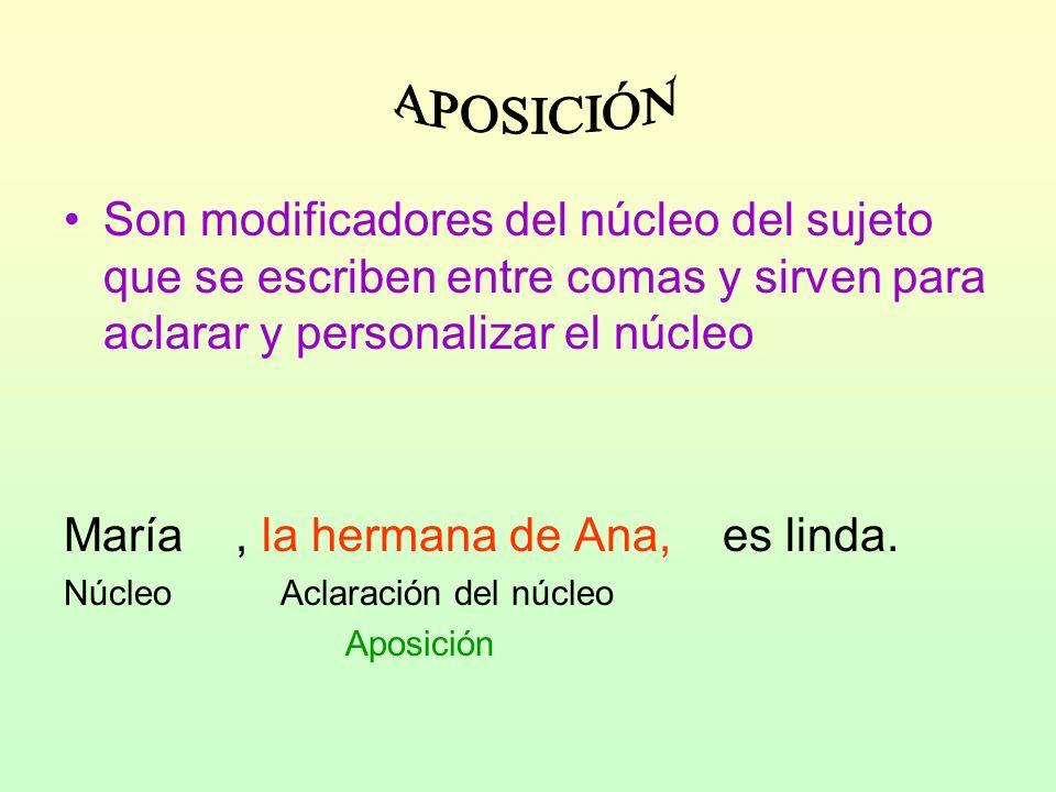 Son modificadores del núcleo del sujeto que se escriben entre comas y sirven para aclarar y personalizar el núcleo María, la hermana de Ana, es linda.