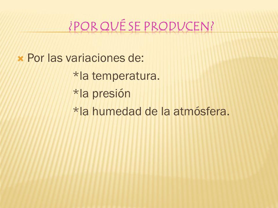 Por las variaciones de: *la temperatura. *la presión *la humedad de la atmósfera.