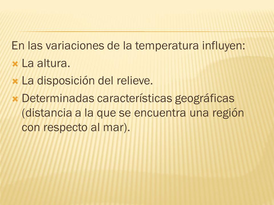 En las variaciones de la temperatura influyen: La altura.