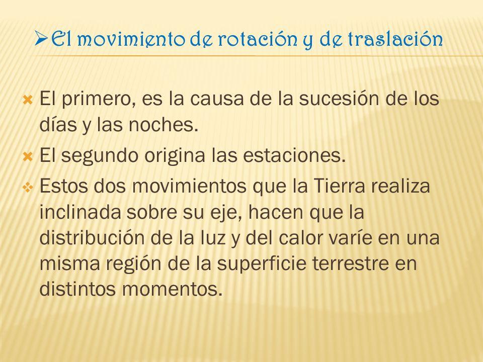 El movimiento de rotación y de traslación El primero, es la causa de la sucesión de los días y las noches.