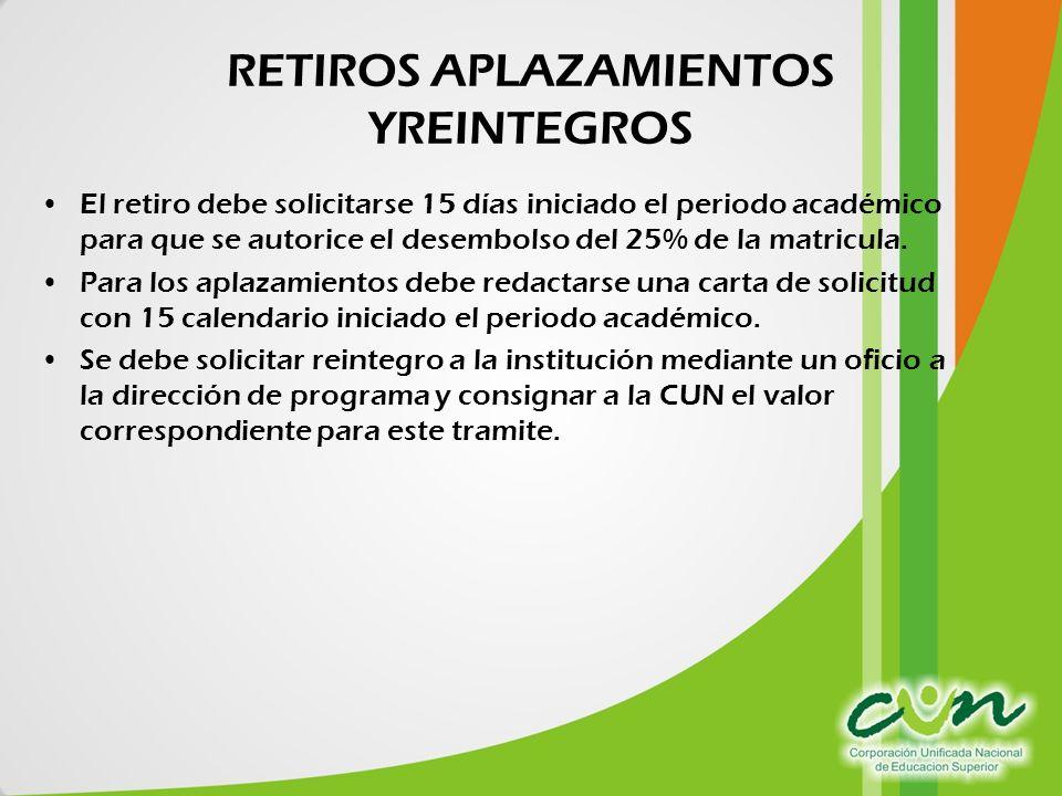 RETIROS APLAZAMIENTOS YREINTEGROS El retiro debe solicitarse 15 días iniciado el periodo académico para que se autorice el desembolso del 25% de la matricula.