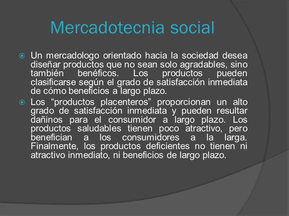 Mercadotecnia social Un mercadologo orientado hacia la sociedad desea diseñar productos que no sean solo agradables, sino también benéficos.