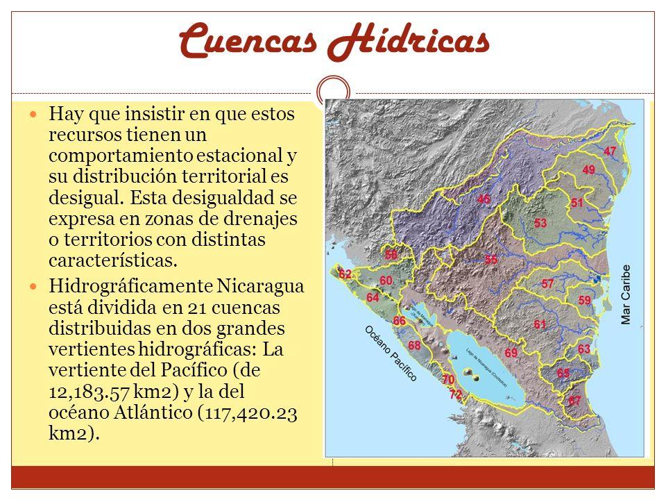 Cuencas Hídricas Hay que insistir en que estos recursos tienen un comportamiento estacional y su distribución territorial es desigual. Esta desigualda