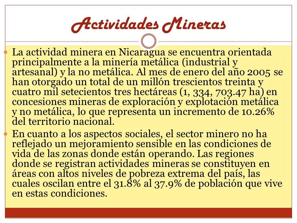 Actividades Mineras La actividad minera en Nicaragua se encuentra orientada principalmente a la minería metálica (industrial y artesanal) y la no metá