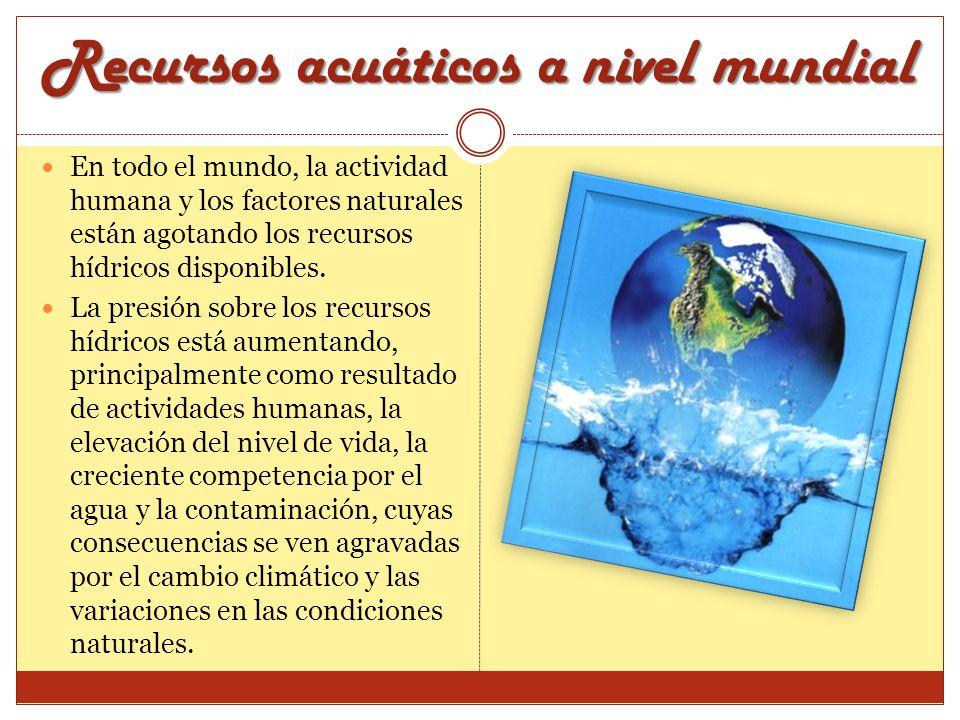 Recursos acuáticos a nivel mundial En todo el mundo, la actividad humana y los factores naturales están agotando los recursos hídricos disponibles. La