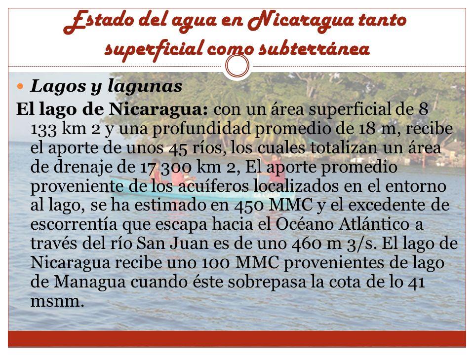 Estado del agua en Nicaragua tanto superficial como subterránea Lagos y lagunas El lago de Nicaragua: con un área superficial de 8 133 km 2 y una prof