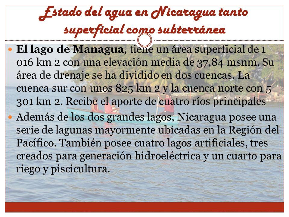 El lago de Managua, tiene un área superficial de 1 016 km 2 con una elevación media de 37,84 msnm. Su área de drenaje se ha dividido en dos cuencas. L