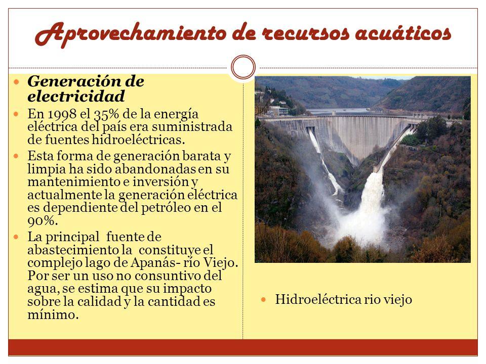 Aprovechamiento de recursos acuáticos Generación de electricidad En 1998 el 35% de la energía eléctrica del país era suministrada de fuentes hidroeléc
