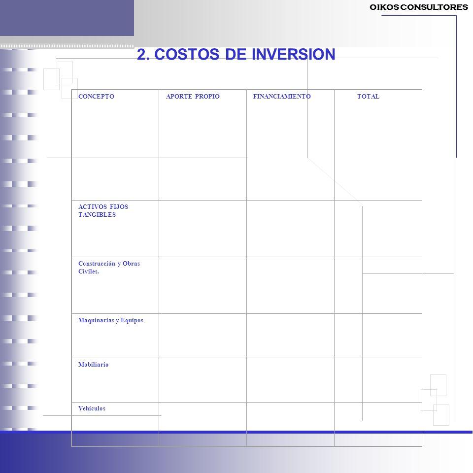 2. COSTOS DE INVERSION CONCEPTOAPORTE PROPIOFINANCIAMIENTO TOTAL ACTIVOS FIJOS TANGIBLES Construcción y Obras Civiles. Maquinarias y Equipos Mobiliari