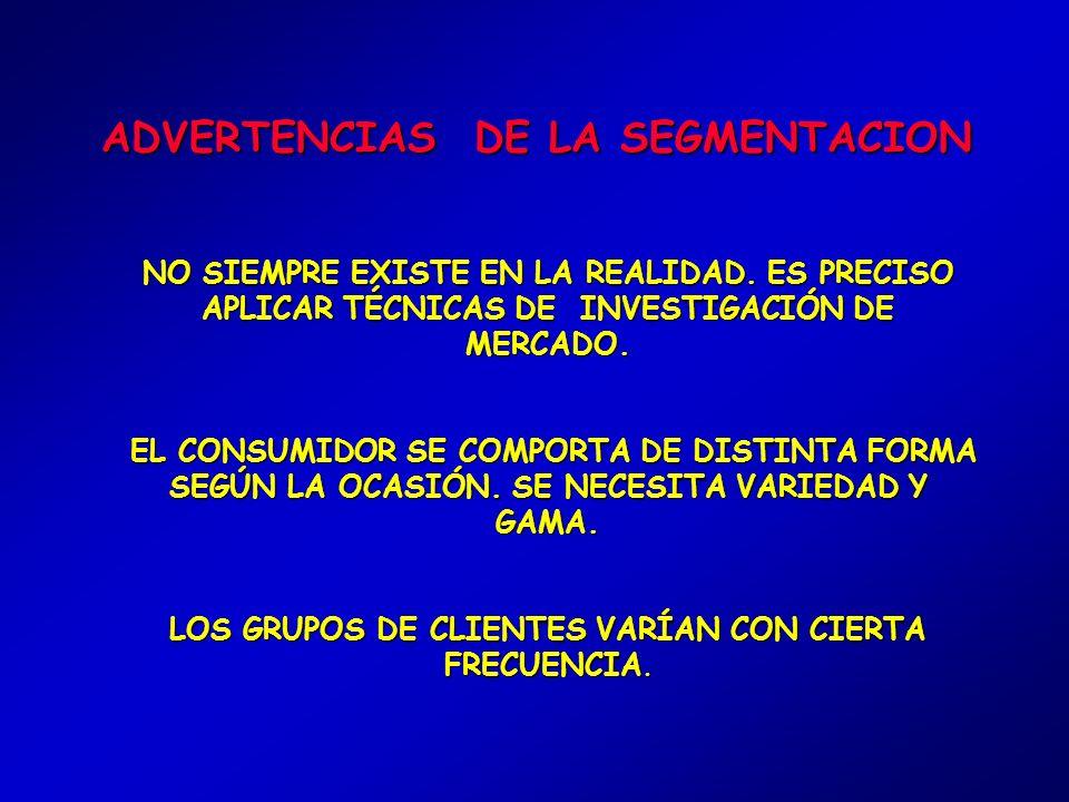 DIMENSIONES PARA SEGMENTAR 1.- CARACTERÍSTICAS PERSONALES DE LOS CONSUMIDORES 2.- FACTORES HISTÓRICOS DE SU COMPORTAMIENTO EN EL MERCADO
