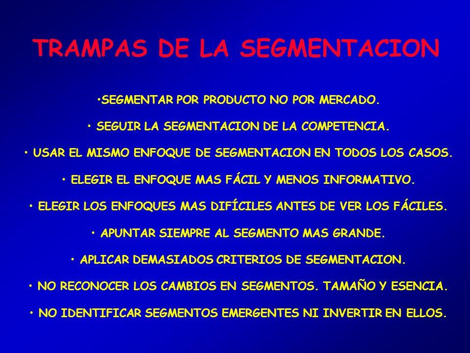 ADVERTENCIAS DE LA SEGMENTACION NO SIEMPRE EXISTE EN LA REALIDAD. ES PRECISO APLICAR TÉCNICAS DE INVESTIGACIÓN DE MERCADO. EL CONSUMIDOR SE COMPORTA D