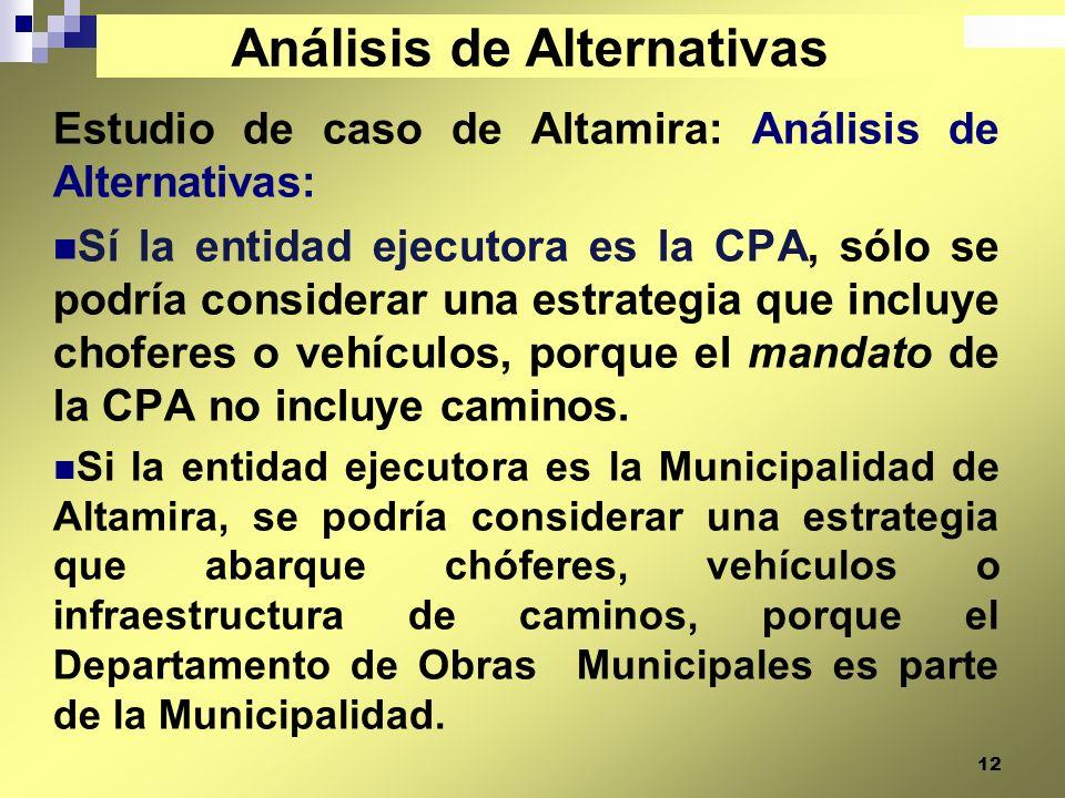 12 Estudio de caso de Altamira: Análisis de Alternativas: Sí la entidad ejecutora es la CPA, sólo se podría considerar una estrategia que incluye chof