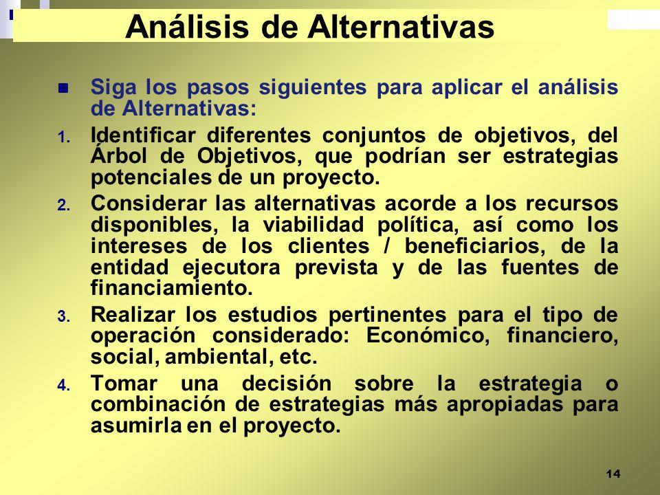 14 Siga los pasos siguientes para aplicar el análisis de Alternativas: 1. Identificar diferentes conjuntos de objetivos, del Árbol de Objetivos, que p