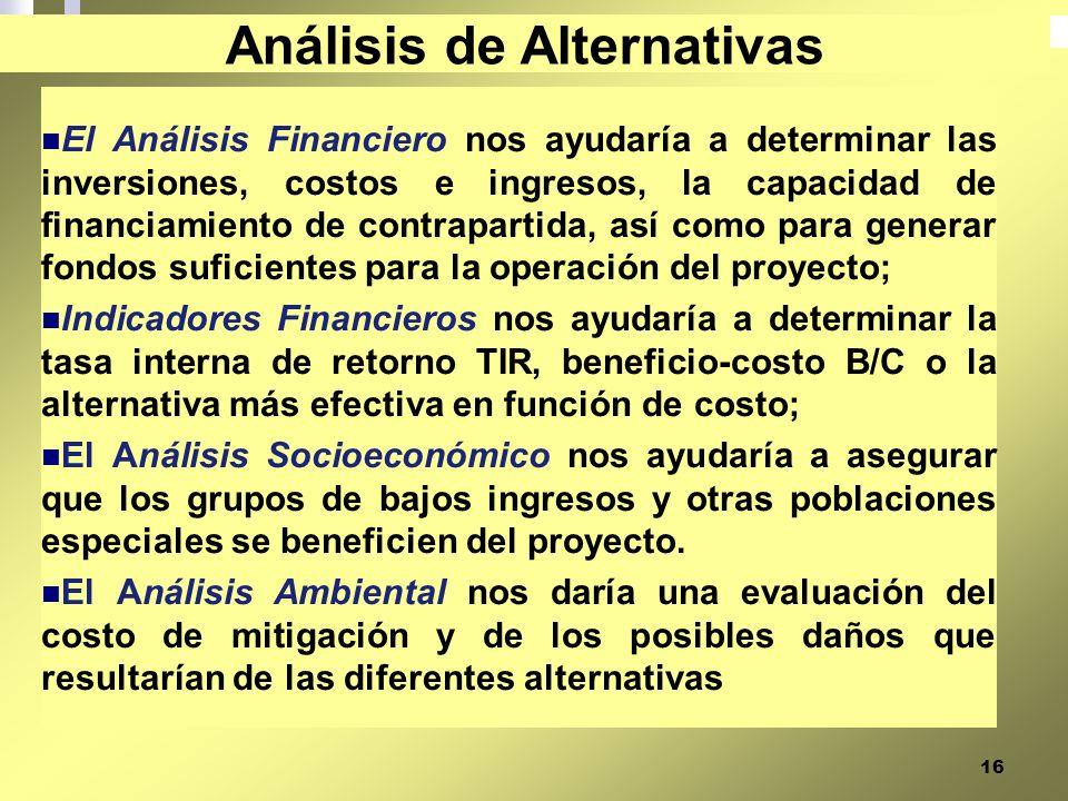 16 El Análisis Financiero nos ayudaría a determinar las inversiones, costos e ingresos, la capacidad de financiamiento de contrapartida, así como para