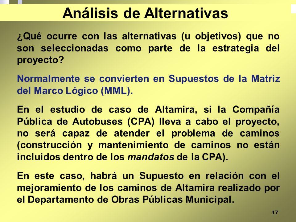17 ¿Qué ocurre con las alternativas (u objetivos) que no son seleccionadas como parte de la estrategia del proyecto? Normalmente se convierten en Supu