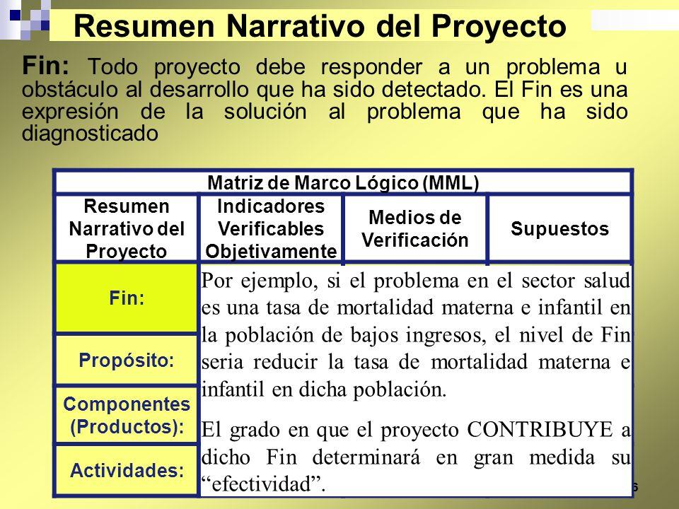 26 Fin: Todo proyecto debe responder a un problema u obstáculo al desarrollo que ha sido detectado. El Fin es una expresión de la solución al problema
