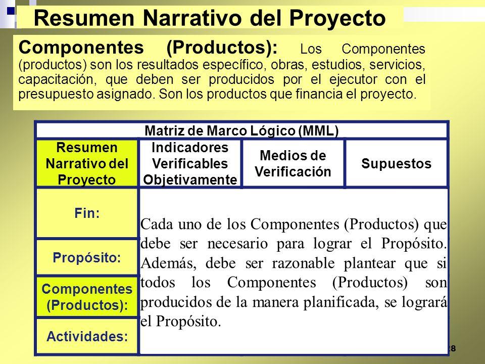 28 Componentes (Productos): Los Componentes (productos) son los resultados específico, obras, estudios, servicios, capacitación, que deben ser produci