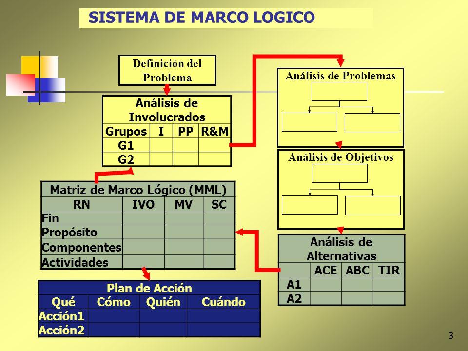 3 SISTEMA DE MARCO LOGICO Análisis de Involucrados GruposIPPR&M G1 G2 Definición del Problema Análisis de ProblemasAnálisis de Objetivos Análisis de A
