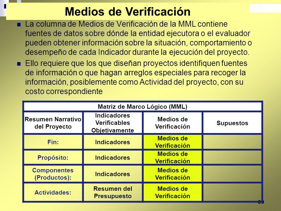 39 La columna de Medios de Verificación de la MML contiene fuentes de datos sobre dónde la entidad ejecutora o el evaluador pueden obtener información