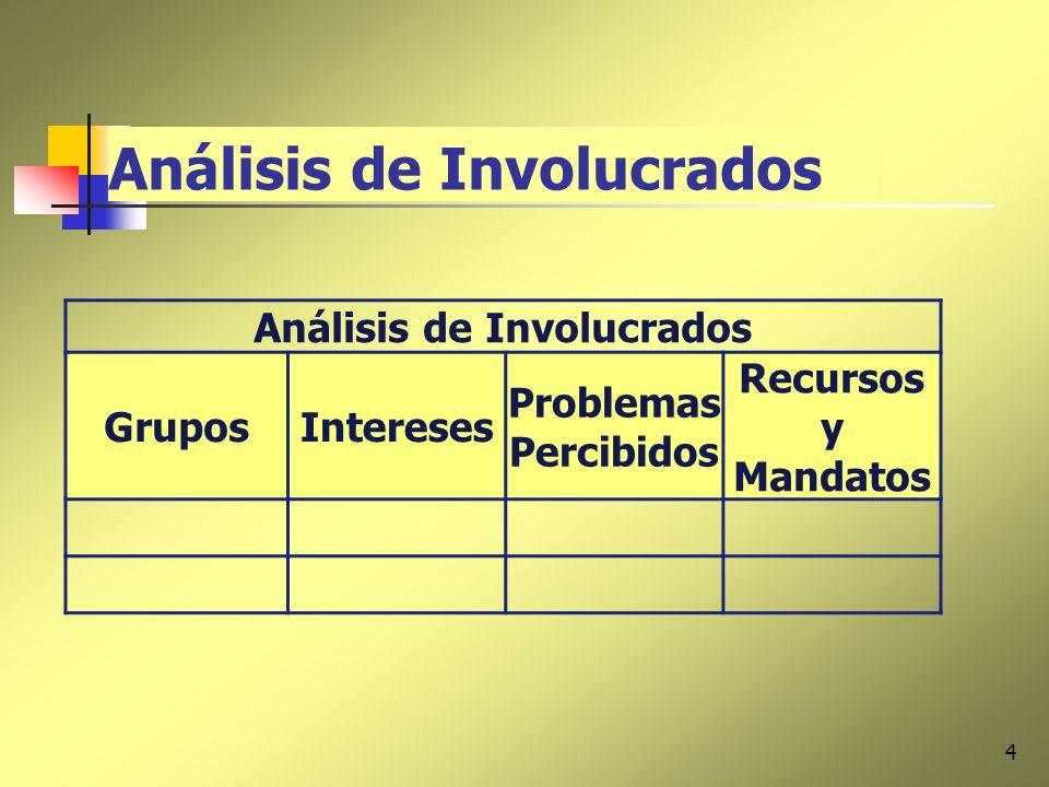 4 Análisis de Involucrados GruposIntereses Problemas Percibidos Recursos y Mandatos