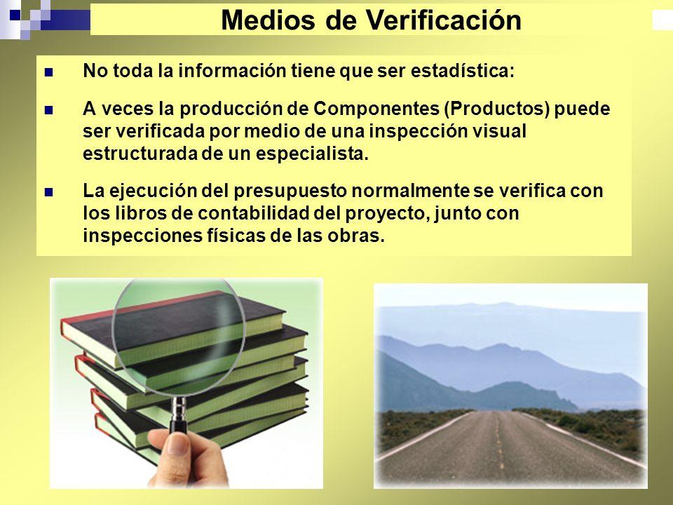 40 No toda la información tiene que ser estadística: A veces la producción de Componentes (Productos) puede ser verificada por medio de una inspección