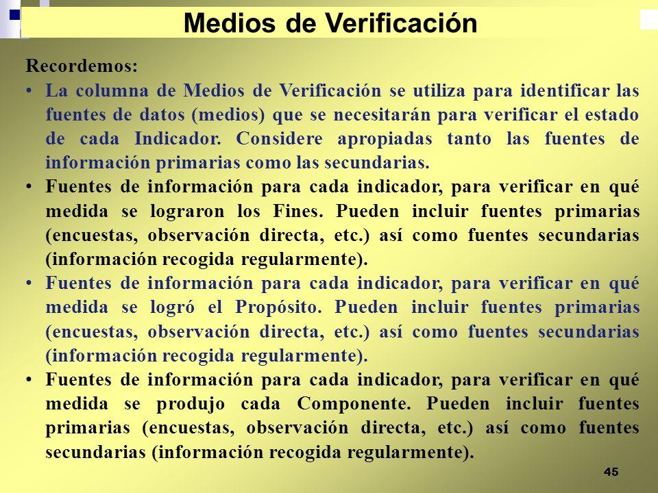 45 Recordemos: La columna de Medios de Verificación se utiliza para identificar las fuentes de datos (medios) que se necesitarán para verificar el est