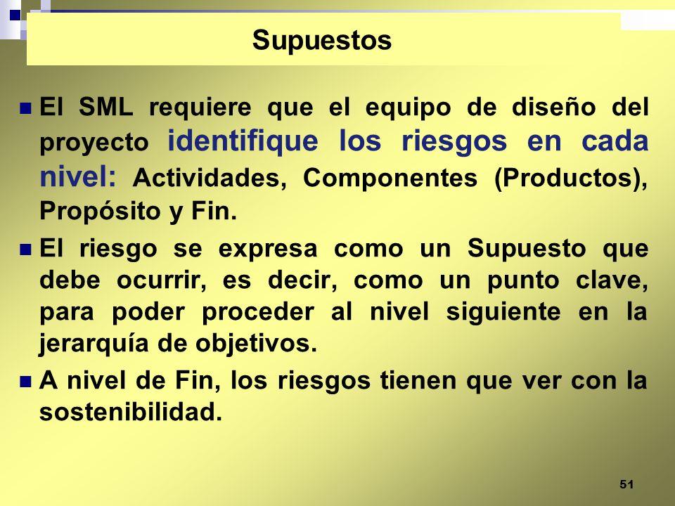 51 El SML requiere que el equipo de diseño del proyecto identifique los riesgos en cada nivel: Actividades, Componentes (Productos), Propósito y Fin.