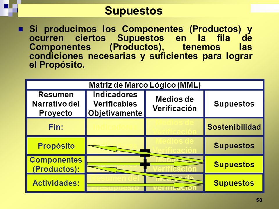 58 Si producimos los Componentes (Productos) y ocurren ciertos Supuestos en la fila de Componentes (Productos), tenemos las condiciones necesarias y s