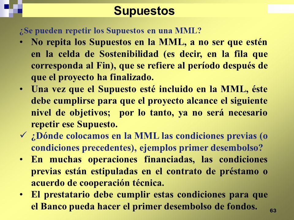 63 ¿Se pueden repetir los Supuestos en una MML? No repita los Supuestos en la MML, a no ser que estén en la celda de Sostenibilidad (es decir, en la f