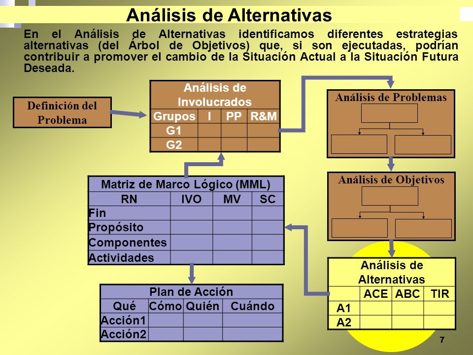 7 En el Análisis de Alternativas identificamos diferentes estrategias alternativas (del Árbol de Objetivos) que, si son ejecutadas, podrían contribuir