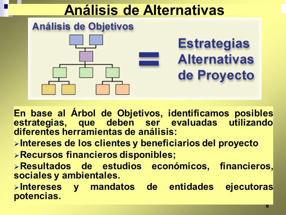 8 En base al Árbol de Objetivos, identificamos posibles estrategias, que deben ser evaluadas utilizando diferentes herramientas de análisis: Intereses