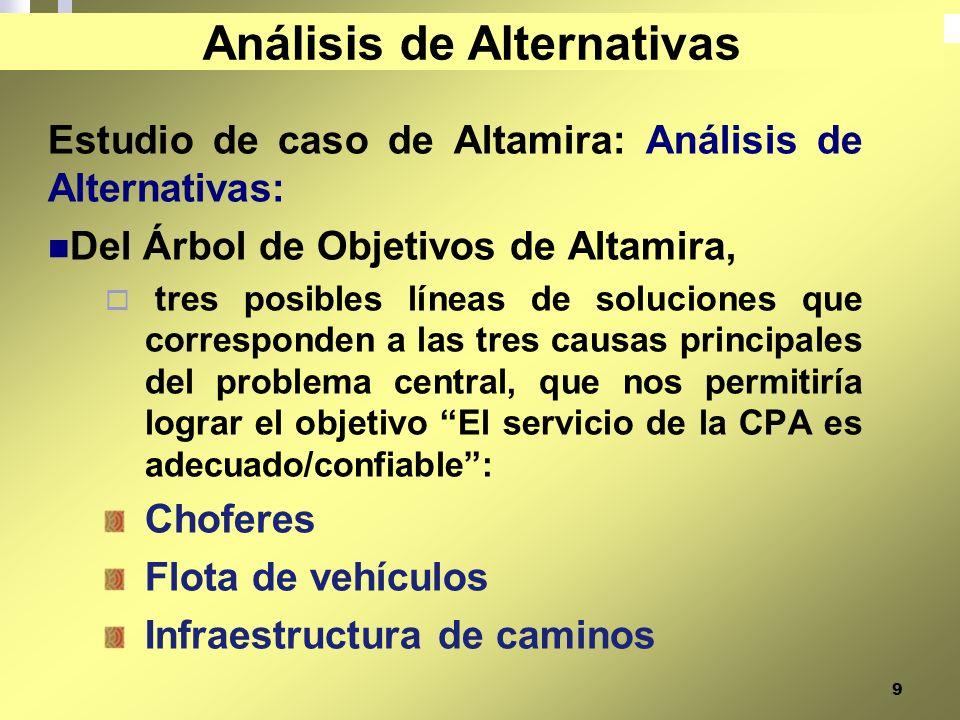 9 Estudio de caso de Altamira: Análisis de Alternativas: Del Árbol de Objetivos de Altamira, tres posibles líneas de soluciones que corresponden a las