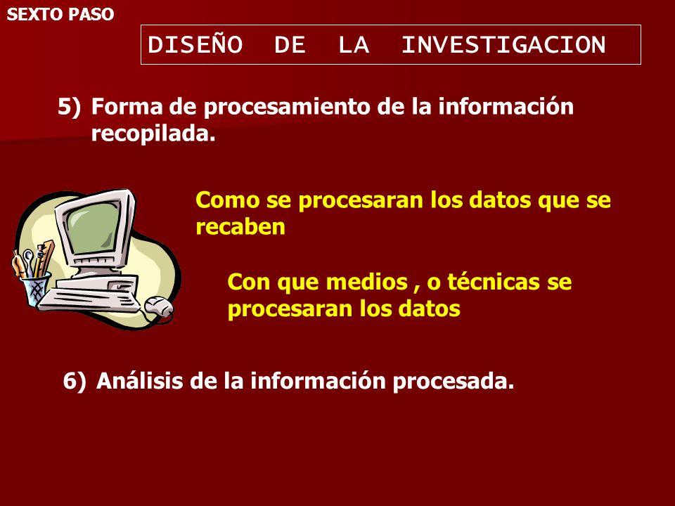 7)Cronograma de trabajo.SEXTO PASO DISEÑO DE LA INVESTIGACION Número de la actividad.