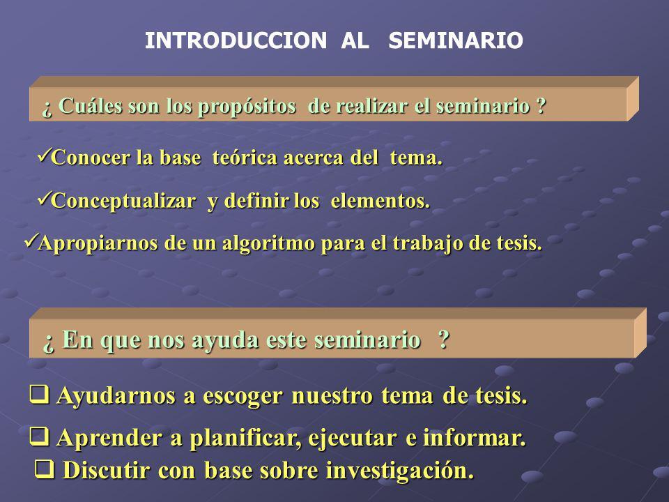 INTRODUCCION AL SEMINARIO ¿ Cuáles son los propósitos de realizar el seminario ? ¿ Cuáles son los propósitos de realizar el seminario ? Conocer la bas
